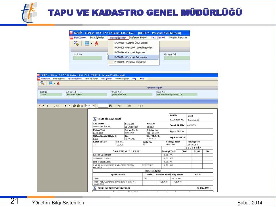 Yönetim Bilgi Sistemleri Şubat 2014 20 TAPU VE KADASTRO GENEL MÜDÜRLÜĞÜ