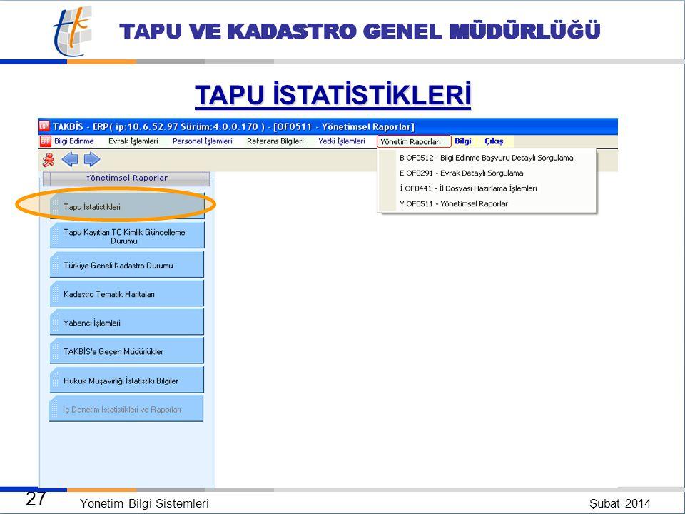 Yönetim Bilgi Sistemleri Şubat 2014 26 TAPU VE KADASTRO GENEL MÜDÜRLÜĞÜ