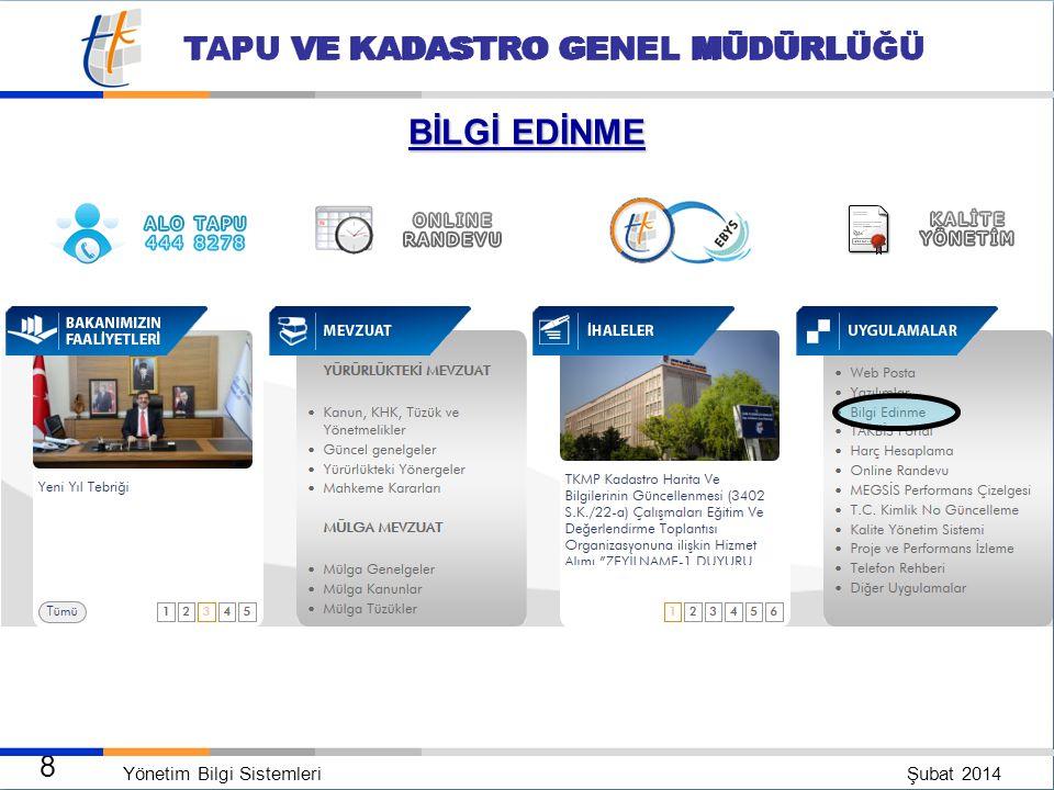 Yönetim Bilgi Sistemleri Şubat 2014 7 TAPU VE KADASTRO GENEL MÜDÜRLÜĞÜ