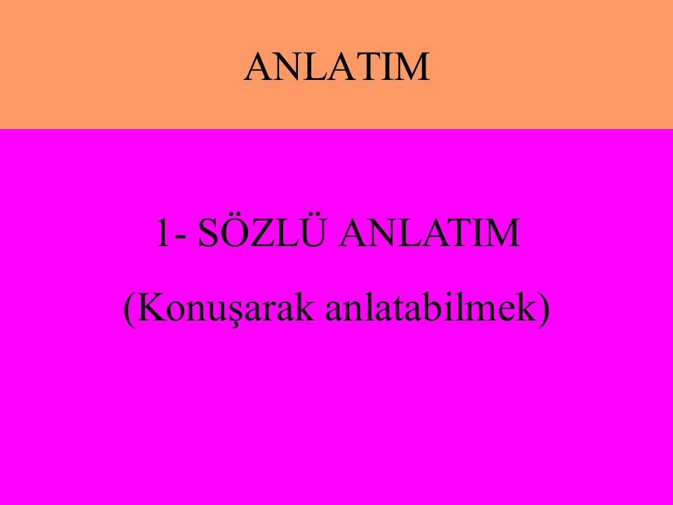 ANLATIM 1- SÖZLÜ ANLATIM (Konuşarak anlatabilmek)