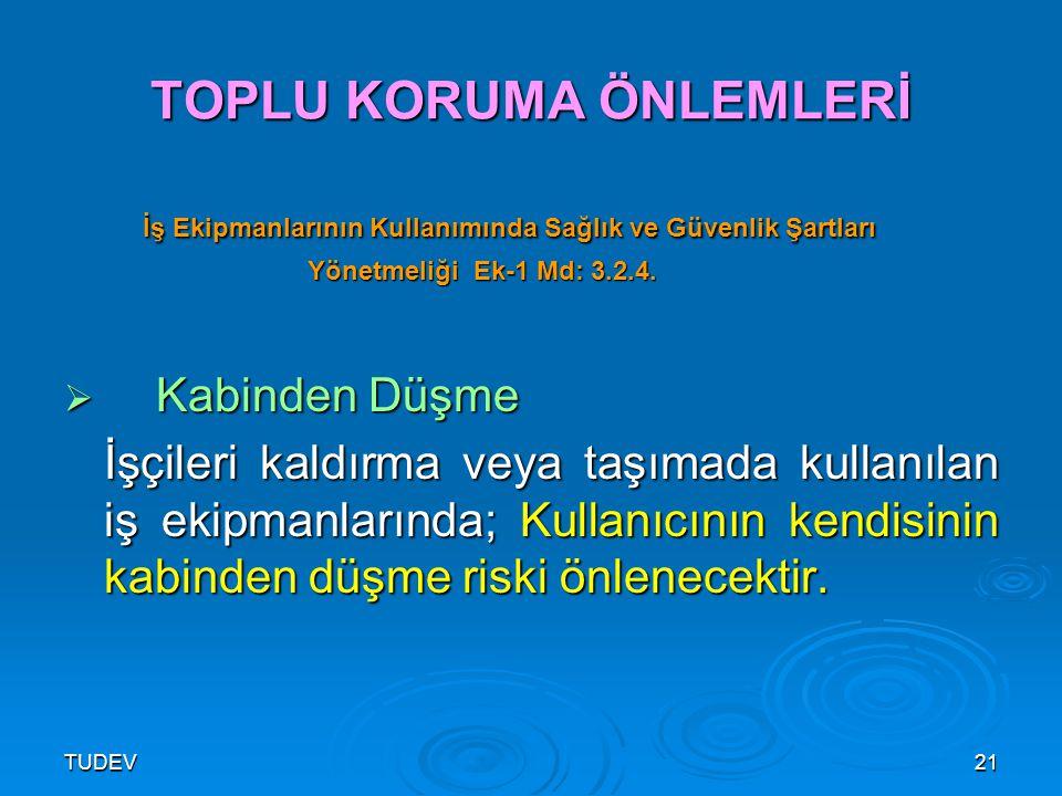 TUDEV21 TOPLU KORUMA ÖNLEMLERİ İş Ekipmanlarının Kullanımında Sağlık ve Güvenlik Şartları İş Ekipmanlarının Kullanımında Sağlık ve Güvenlik Şartları Y