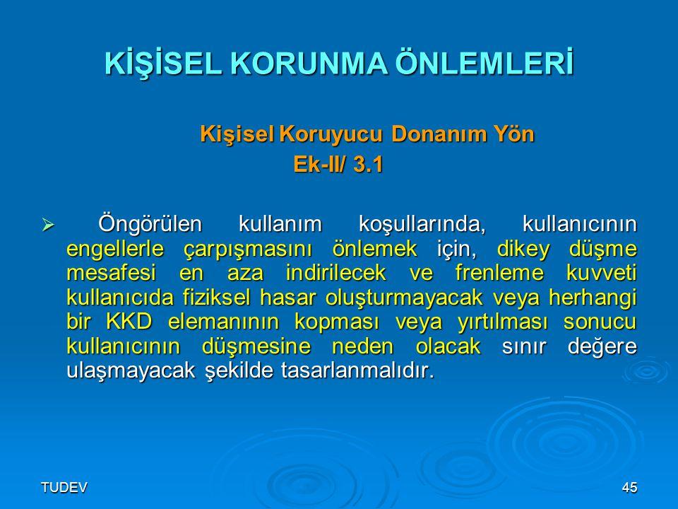 TUDEV45 KİŞİSEL KORUNMA ÖNLEMLERİ Kişisel Koruyucu Donanım Yön Kişisel Koruyucu Donanım Yön Ek-II/ 3.1  Öngörülen kullanım koşullarında, kullanıcının