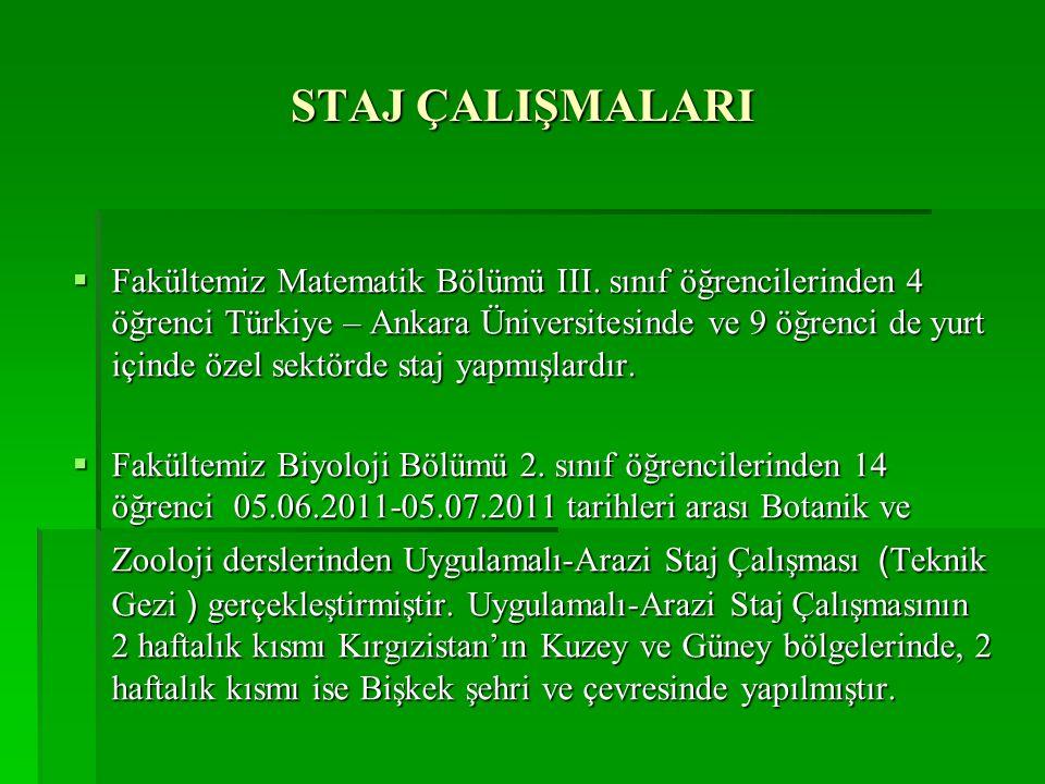 STAJ ÇALIŞMALARI  Fakültemiz Matematik Bölümü III. sınıf öğrencilerinden 4 öğrenci Türkiye – Ankara Üniversitesinde ve 9 öğrenci de yurt içinde özel