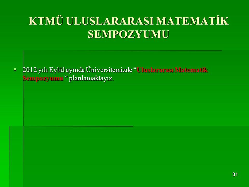""" 2012 yılı Eylül ayında Üniversitemizde """"Uluslararası Matematik Sempozyumu """" planlamaktayız. 31 KTMÜ ULUSLARARASI MATEMATİK SEMPOZYUMU"""
