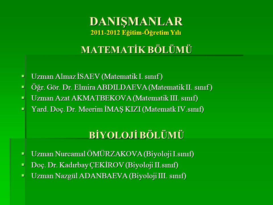 DANIŞMANLAR 2011-2012 Eğitim-Öğretim Yılı MATEMATİK BÖLÜMÜ  Uzman Almaz İSAEV (Matematik I. sınıf )  Öğr. Gör. Dr. Elmira ABDILDAEVA (Matematik II.