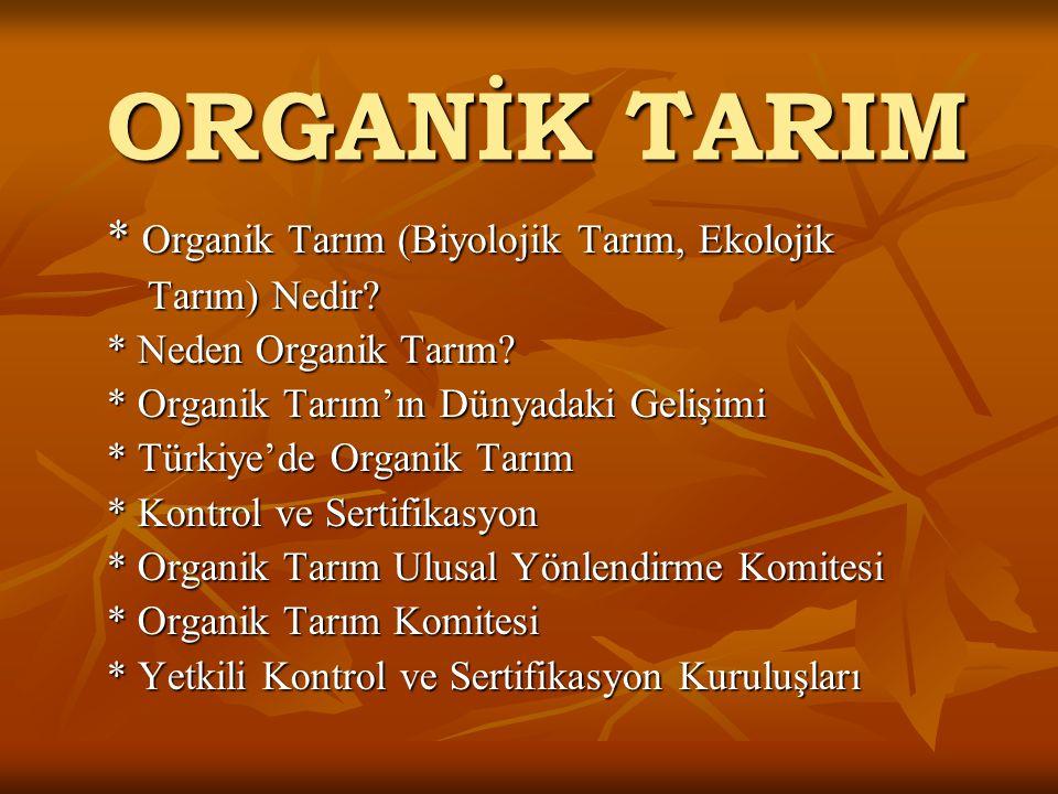 ORGANİK TARIM * Organik Tarım (Biyolojik Tarım, Ekolojik Tarım) Nedir.