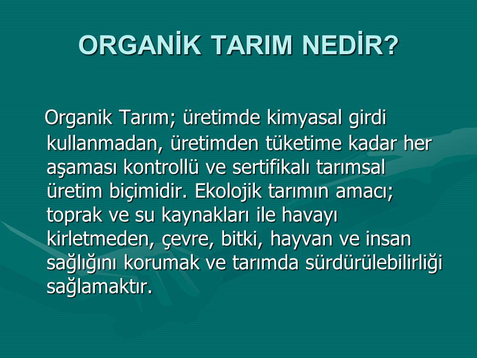 ORGANİK TARIM * Organik Tarım (Biyolojik Tarım, Ekolojik Tarım) Nedir? Tarım) Nedir? * Neden Organik Tarım? * Organik Tarım'ın Dünyadaki Gelişimi * Tü