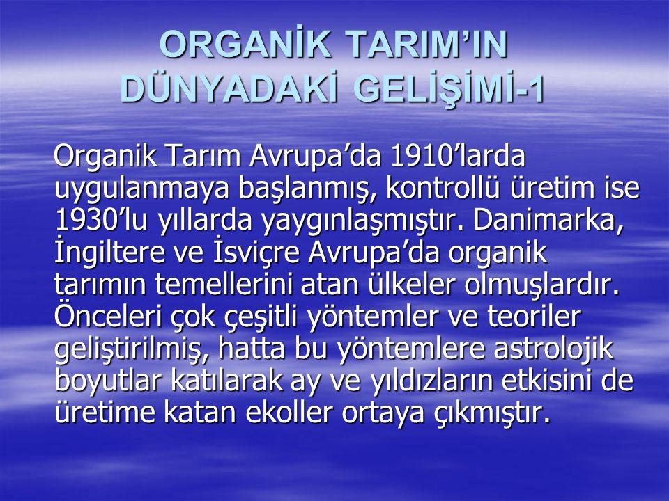 ORGANİK TARIM'IN DÜNYADAKİ GELİŞİMİ-1 Organik Tarım Avrupa'da 1910'larda uygulanmaya başlanmış, kontrollü üretim ise 1930'lu yıllarda yaygınlaşmıştır.