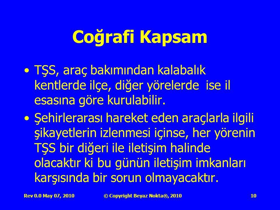 Rev 0.0 May 07, 2010© Copyright Beyaz Nokta®, 201010 Coğrafi Kapsam TŞS, araç bakımından kalabalık kentlerde ilçe, diğer yörelerde ise il esasına göre kurulabilir.
