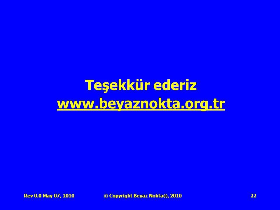 Rev 0.0 May 07, 2010© Copyright Beyaz Nokta®, 201022 Teşekkür ederiz www.beyaznokta.org.tr