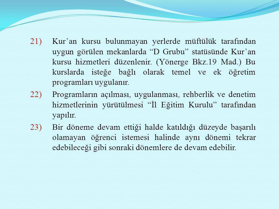 """21)Kur'an kursu bulunmayan yerlerde müftülük tarafından uygun görülen mekanlarda """"D Grubu"""" statüsünde Kur'an kursu hizmetleri düzenlenir. (Yönerge Bkz"""