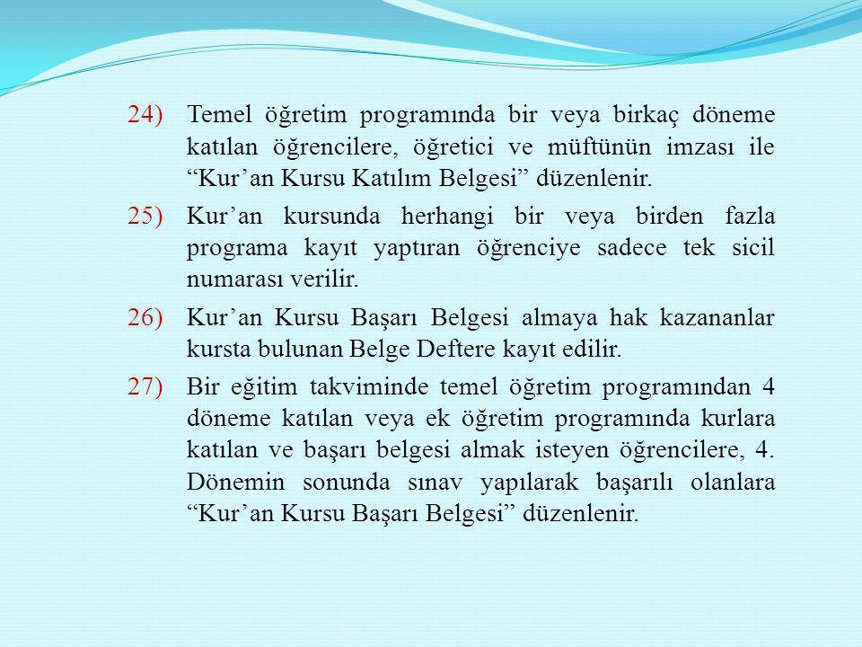 """24)Temel öğretim programında bir veya birkaç döneme katılan öğrencilere, öğretici ve müftünün imzası ile """"Kur'an Kursu Katılım Belgesi"""" düzenlenir. 25"""
