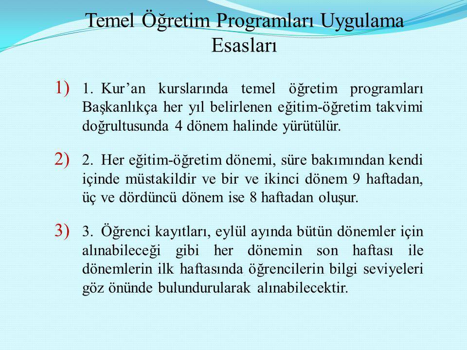 Temel Öğretim Programları Uygulama Esasları 1) 1.Kur'an kurslarında temel öğretim programları Başkanlıkça her yıl belirlenen eğitim-öğretim takvimi do