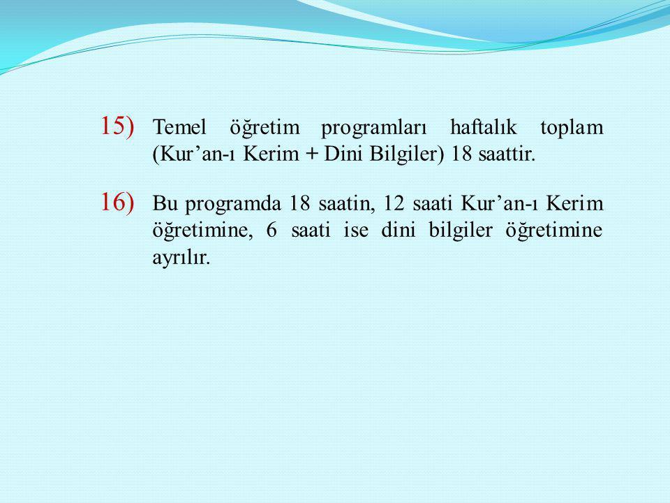 15) Temel öğretim programları haftalık toplam (Kur'an-ı Kerim + Dini Bilgiler) 18 saattir. 16) Bu programda 18 saatin, 12 saati Kur'an-ı Kerim öğretim