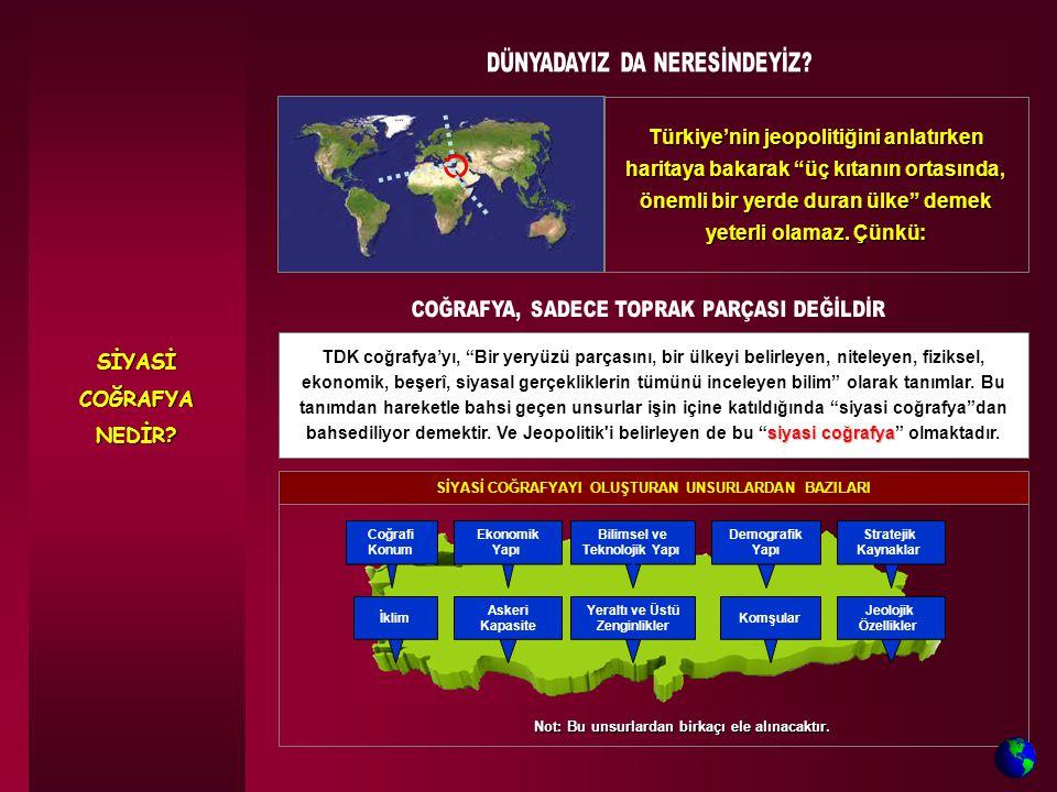 Türkiye, kıtaların arasında olmasına rağmen, boğazları sayesinde kuzeydeki ülkeleri deniz yoluyla güneye, Cebelitarık Boğazı / Süveyş Kanalı'yla da okyanuslara bağlar.