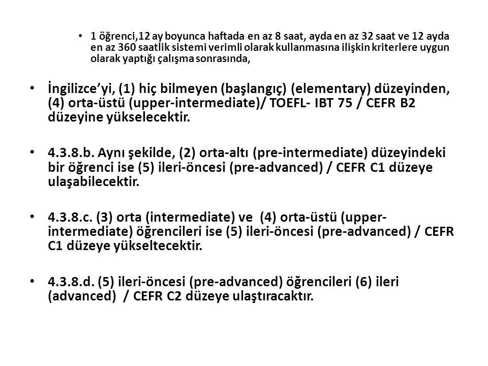 1 öğrenci,12 ay boyunca haftada en az 8 saat, ayda en az 32 saat ve 12 ayda en az 360 saatlik sistemi verimli olarak kullanmasına ilişkin kriterlere uygun olarak yaptığı çalışma sonrasında, İngilizce'yi, (1) hiç bilmeyen (başlangıç) (elementary) düzeyinden, (4) orta-üstü (upper-intermediate)/ TOEFL- IBT 75 / CEFR B2 düzeyine yükselecektir.
