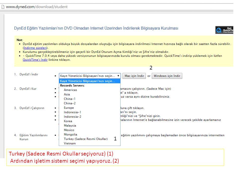 Turkey (Sadece Resmi Okullar seçiyoruz) (1) Ardından işletim sistemi seçimi yapıyoruz. (2) 1 2