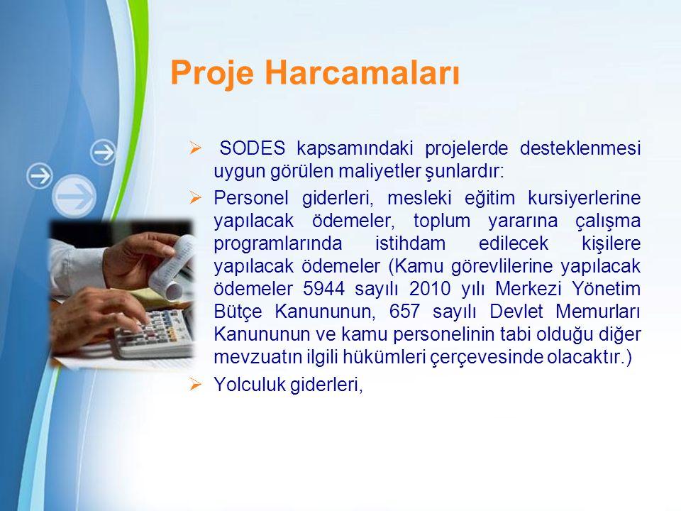 Powerpoint Templates Page 12 Proje Harcamaları  SODES kapsamındaki projelerde desteklenmesi uygun görülen maliyetler şunlardır:  Personel giderleri, mesleki eğitim kursiyerlerine yapılacak ödemeler, toplum yararına çalışma programlarında istihdam edilecek kişilere yapılacak ödemeler (Kamu görevlilerine yapılacak ödemeler 5944 sayılı 2010 yılı Merkezi Yönetim Bütçe Kanununun, 657 sayılı Devlet Memurları Kanununun ve kamu personelinin tabi olduğu diğer mevzuatın ilgili hükümleri çerçevesinde olacaktır.)  Yolculuk giderleri,
