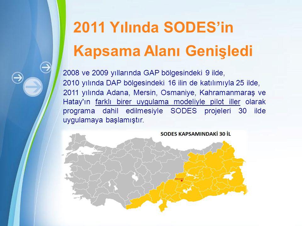 Powerpoint Templates Page 6 2011 Yılında SODES'in Kapsama Alanı Genişledi 2008 ve 2009 yıllarında GAP bölgesindeki 9 ilde, 2010 yılında DAP bölgesindeki 16 ilin de katılımıyla 25 ilde, 2011 yılında Adana, Mersin, Osmaniye, Kahramanmaraş ve Hatay ın farklı birer uygulama modeliyle pilot iller olarak programa dahil edilmesiyle SODES projeleri 30 ilde uygulamaya başlamıştır.