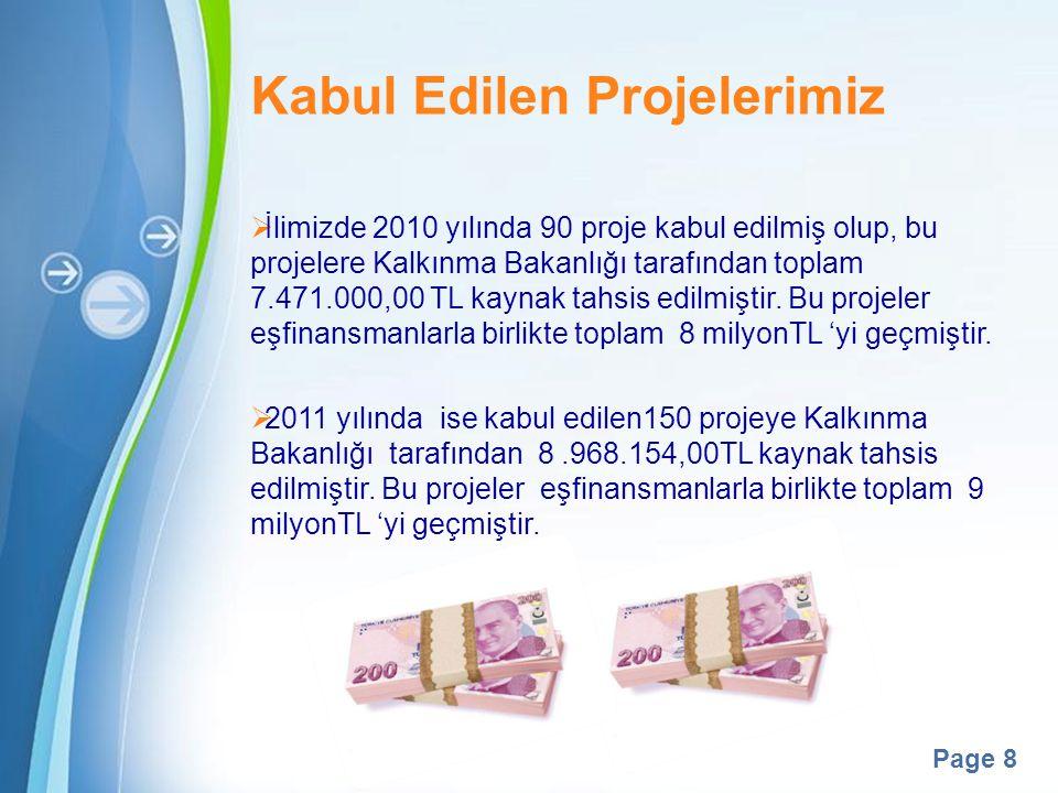 Powerpoint Templates Page 8 Kabul Edilen Projelerimiz  İlimizde 2010 yılında 90 proje kabul edilmiş olup, bu projelere Kalkınma Bakanlığı tarafından