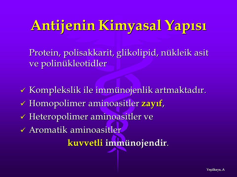 Antijenin Kimyasal Yapısı Protein, polisakkarit, glikolipid, nükleik asit ve polinükleotidler Komplekslik ile immünojenlik artmaktadır. Komplekslik il