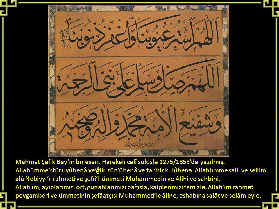 Mehmet Şefik Bey'in bir eseri. Harekeli celî sülüsle 1275/1858'de yazılmış. Allahümme'stür uyûbenâ ve'ğfir zün'ûbenâ ve tahhir kulûbena. Allahümme sal