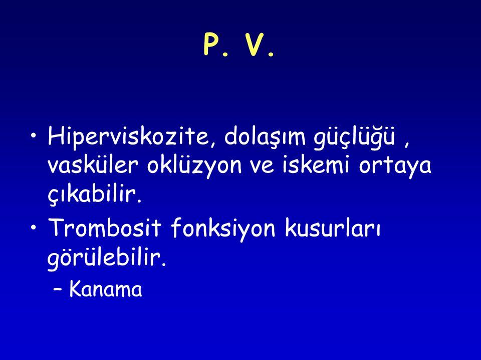 P.V. Hiperviskozite, dolaşım güçlüğü, vasküler oklüzyon ve iskemi ortaya çıkabilir.