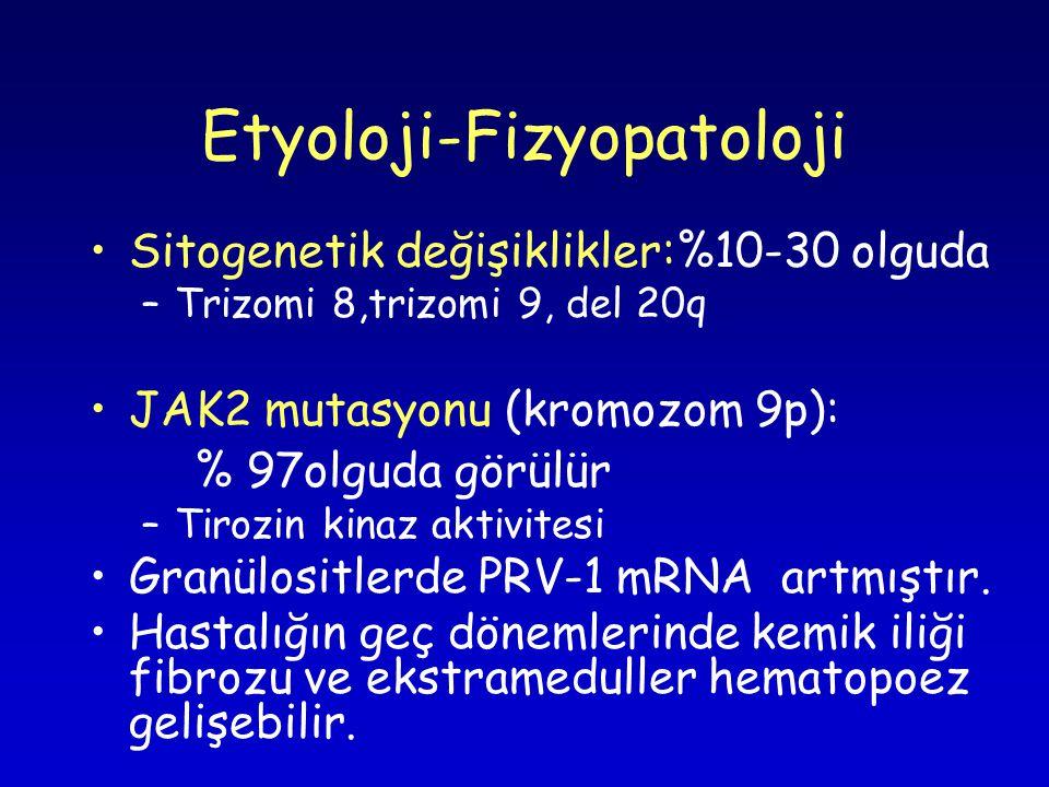 Etyoloji-Fizyopatoloji Sitogenetik değişiklikler:%10-30 olguda –Trizomi 8,trizomi 9, del 20q JAK2 mutasyonu (kromozom 9p): % 97olguda görülür –Tirozin kinaz aktivitesi Granülositlerde PRV-1 mRNA artmıştır.