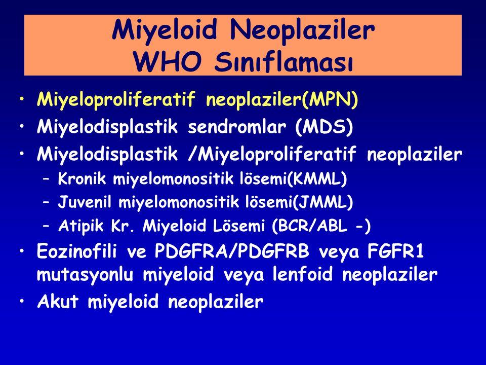 Miyeloid Neoplaziler WHO Sınıflaması Miyeloproliferatif neoplaziler(MPN) Miyelodisplastik sendromlar (MDS) Miyelodisplastik /Miyeloproliferatif neoplaziler –Kronik miyelomonositik lösemi(KMML) –Juvenil miyelomonositik lösemi(JMML) –Atipik Kr.