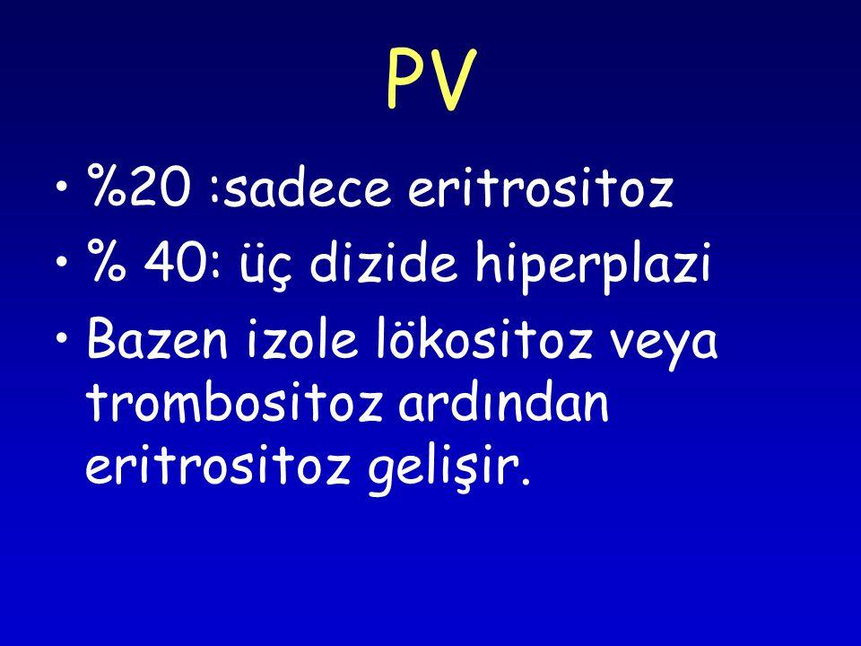 PV %20 :sadece eritrositoz % 40: üç dizide hiperplazi Bazen izole lökositoz veya trombositoz ardından eritrositoz gelişir.