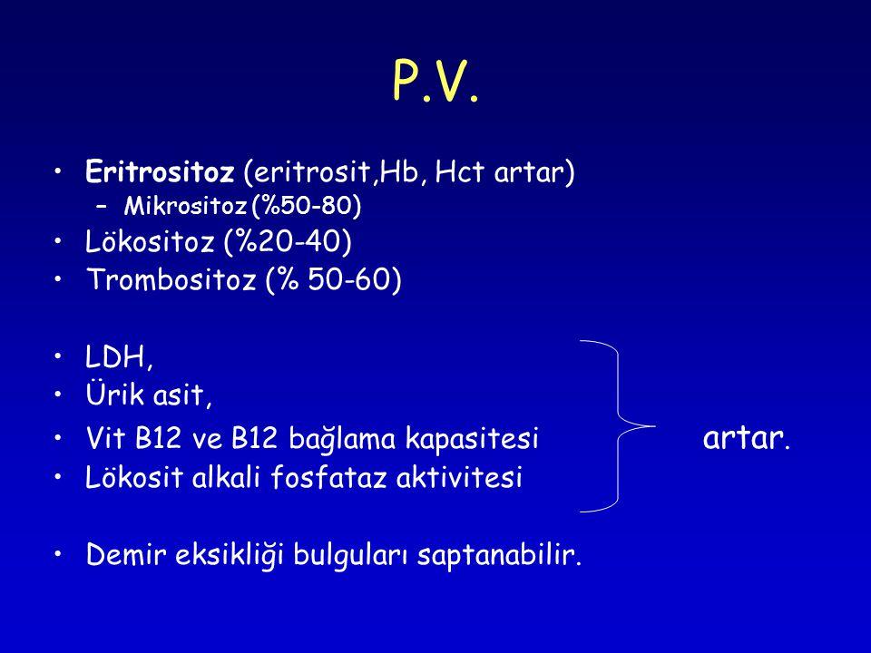 P.V. Eritrositoz (eritrosit,Hb, Hct artar) –Mikrositoz (%50-80) Lökositoz (%20-40) Trombositoz (% 50-60) LDH, Ürik asit, Vit B12 ve B12 bağlama kapasi