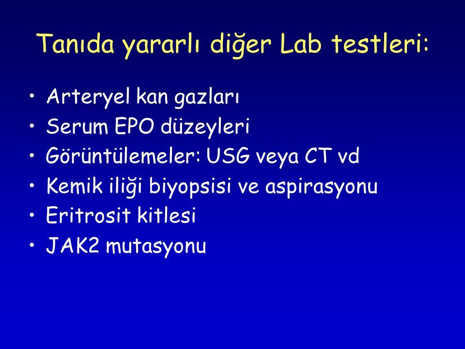 Tanıda yararlı diğer Lab testleri: Arteryel kan gazları Serum EPO düzeyleri Görüntülemeler: USG veya CT vd Kemik iliği biyopsisi ve aspirasyonu Eritrosit kitlesi JAK2 mutasyonu