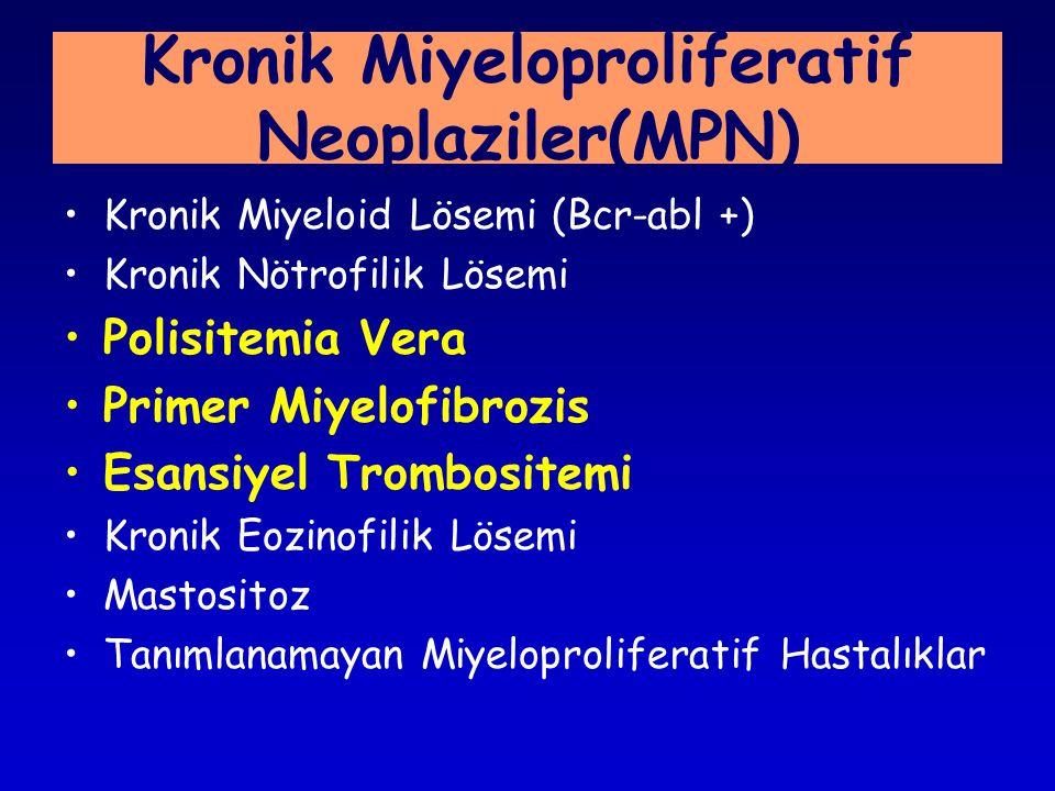 Kronik Miyeloid Lösemi (Bcr-abl +) Kronik Nötrofilik Lösemi Polisitemia Vera Primer Miyelofibrozis Esansiyel Trombositemi Kronik Eozinofilik Lösemi Mastositoz Tanımlanamayan Miyeloproliferatif Hastalıklar Kronik Miyeloproliferatif Neoplaziler(MPN)