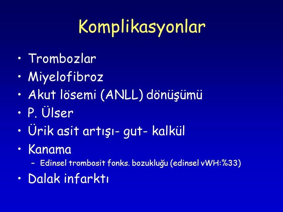 Komplikasyonlar Trombozlar Miyelofibroz Akut lösemi (ANLL) dönüşümü P.