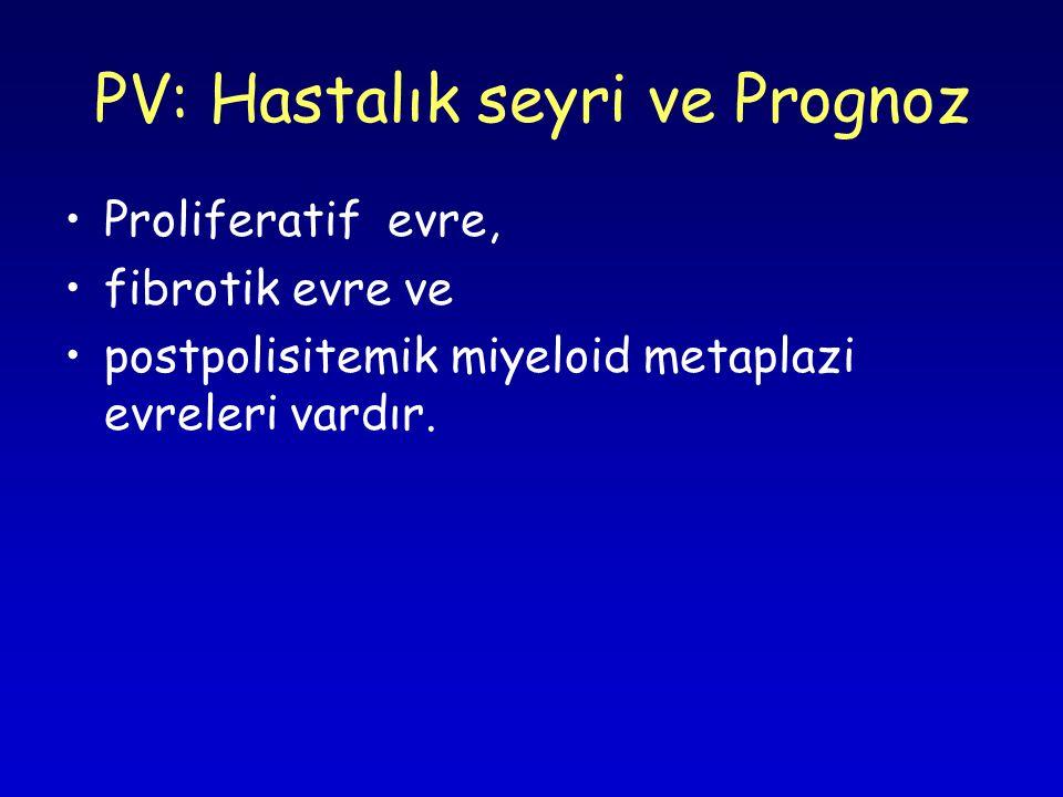 PV: Hastalık seyri ve Prognoz Proliferatif evre, fibrotik evre ve postpolisitemik miyeloid metaplazi evreleri vardır.