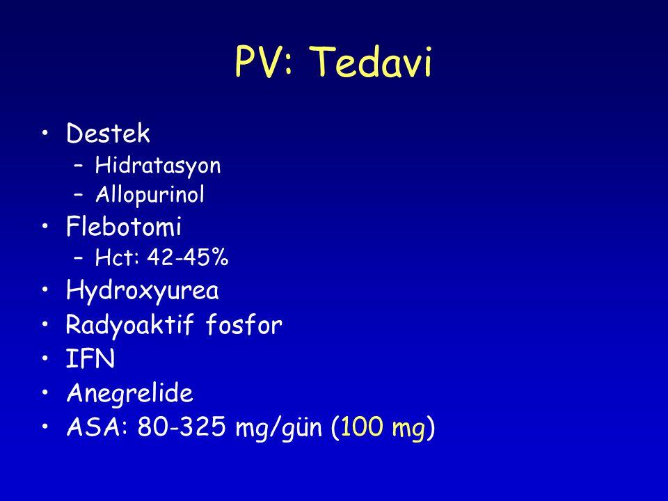 PV: Tedavi Destek –Hidratasyon –Allopurinol Flebotomi –Hct: 42-45% Hydroxyurea Radyoaktif fosfor IFN Anegrelide ASA: 80-325 mg/gün (100 mg)