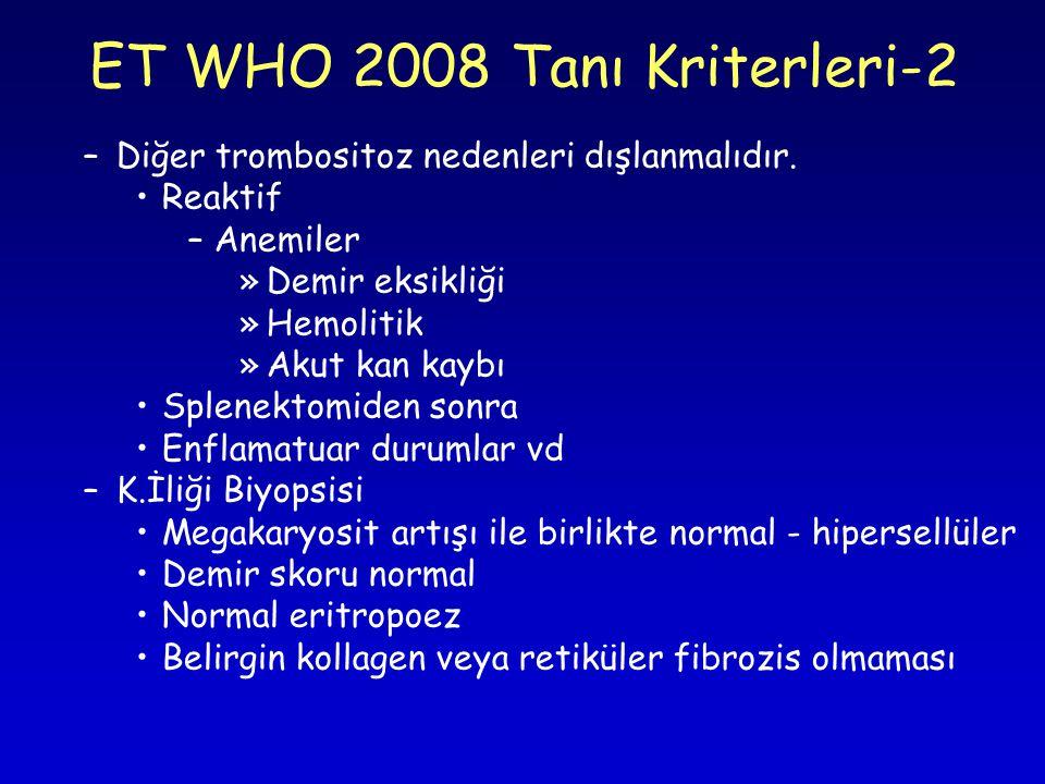 –Diğer trombositoz nedenleri dışlanmalıdır.