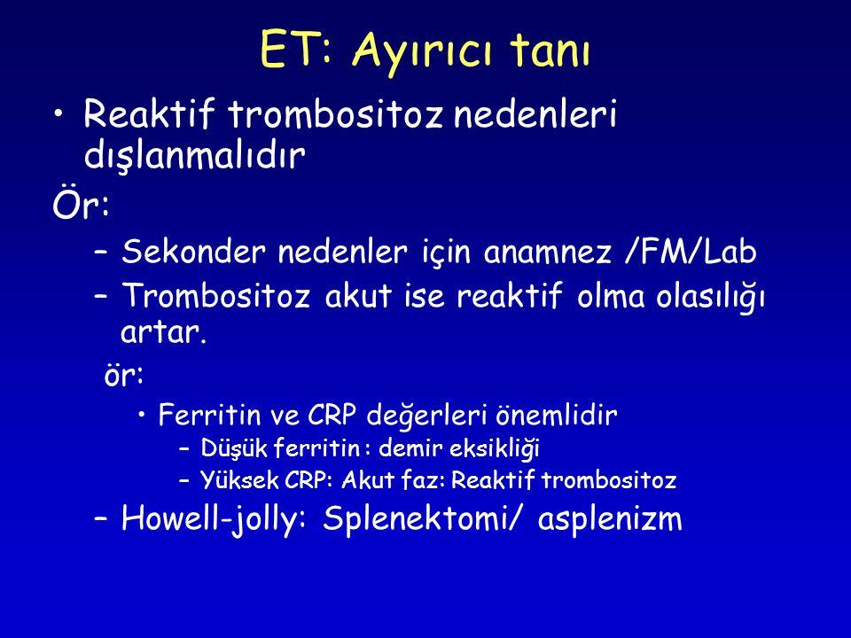 ET: Ayırıcı tanı Reaktif trombositoz nedenleri dışlanmalıdır Ör: –Sekonder nedenler için anamnez /FM/Lab –Trombositoz akut ise reaktif olma olasılığı artar.