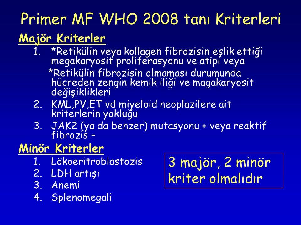 Primer MF WHO 2008 tanı Kriterleri Majör Kriterler 1.*Retikülin veya kollagen fibrozisin eşlik ettiği megakaryosit proliferasyonu ve atipi veya *Retikülin fibrozisin olmaması durumunda hücreden zengin kemik iliği ve magakaryosit değişiklikleri 2.KML,PV,ET vd miyeloid neoplazilere ait kriterlerin yokluğu 3.