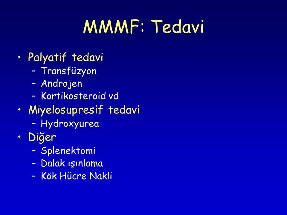 MMMF: Tedavi Palyatif tedavi –Transfüzyon –Androjen –Kortikosteroid vd Miyelosupresif tedavi –Hydroxyurea Diğer –Splenektomi –Dalak ışınlama –Kök Hücre Nakli