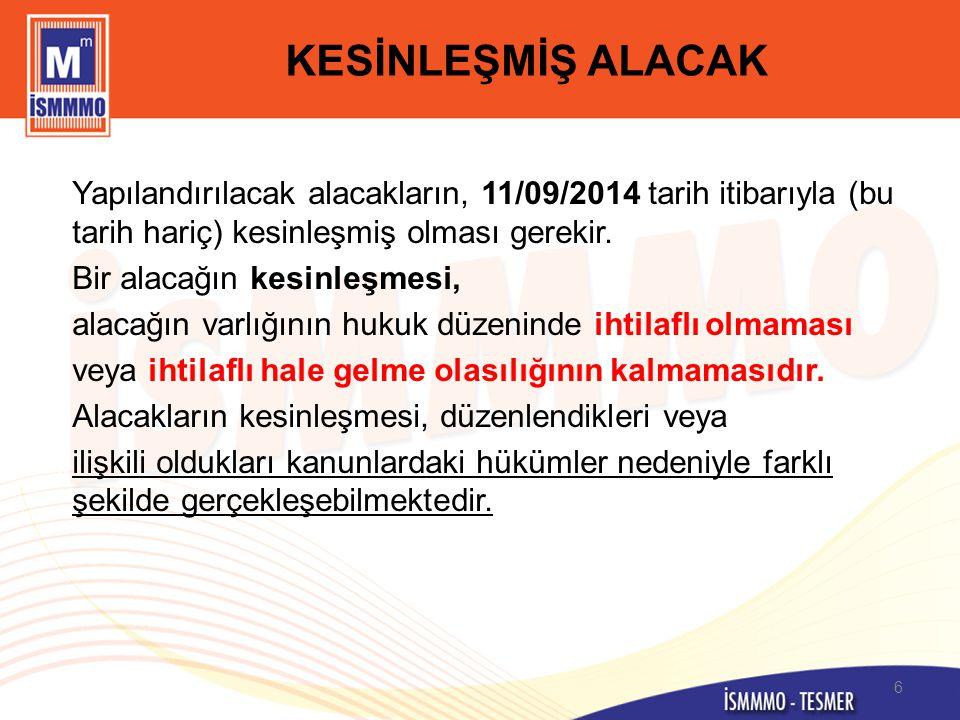 YAPILANDIRMANIN KAPSAMI (6552/73-16-b ve c) Belediye Kanunu kapsamındaki belediyelerin su abonelerinden olan su kullanımından kaynaklanan alacakları ile bunlara bağlı ferî (sözleşmelerde düzenlenen her türlü ceza ve zamlar dahil) alacakları, İstanbul Su ve Kanalizasyon İdaresi Genel Müdürlüğü Kuruluş ve Görevleri Hakkında Kanun kapsamındaki büyükşehir belediyeleri su ve kanalizasyon idarelerinin su ve atık su bedeli alacakları ile bu alacaklara bağlı faiz, gecikme faizi, gecikme zammı gibi ferî (sözleşmelerde düzenlenen her türlü ceza ve zamlar dahil) alacakları, vadesi 30/04/2014 tarihinden (bu tarih dahil) önce olduğu halde kesinleşmiş olup 11/09/2014 tarihi itibarıyla ödenmemiş bulunan alacaklar yapılandırma kapsamındadır.