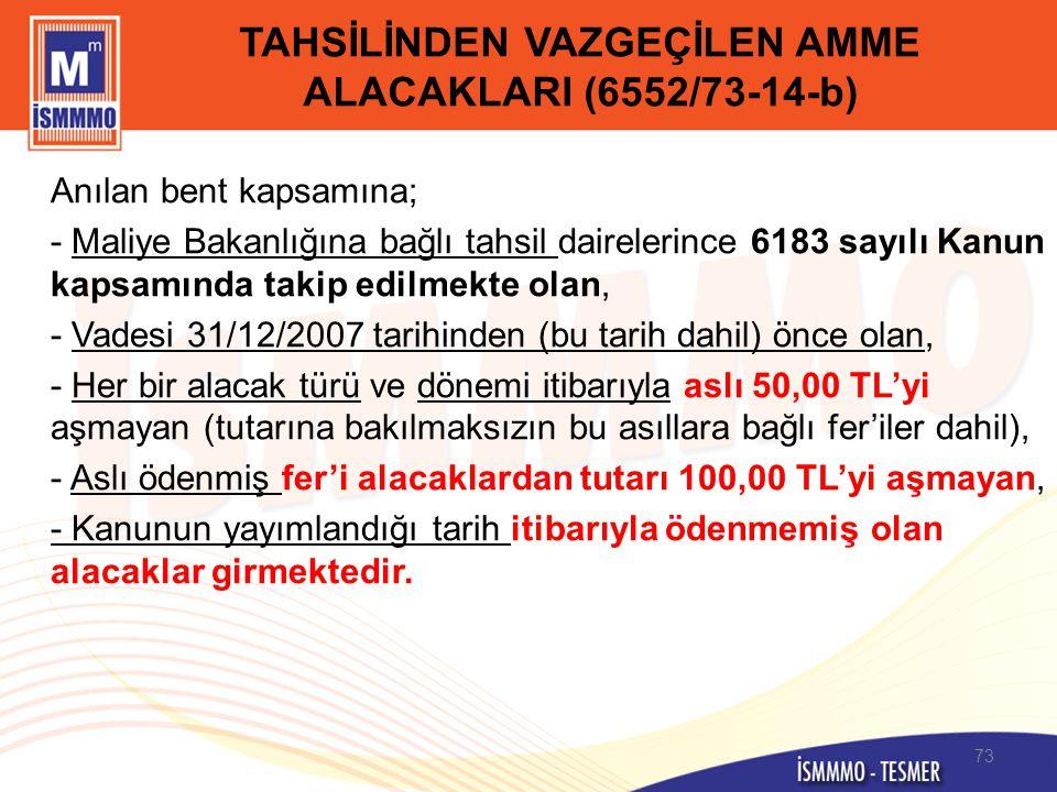 TAHSİLİNDEN VAZGEÇİLEN AMME ALACAKLARI (6552/73-14-b) Anılan bent kapsamına; - Maliye Bakanlığına bağlı tahsil dairelerince 6183 sayılı Kanun kapsamın