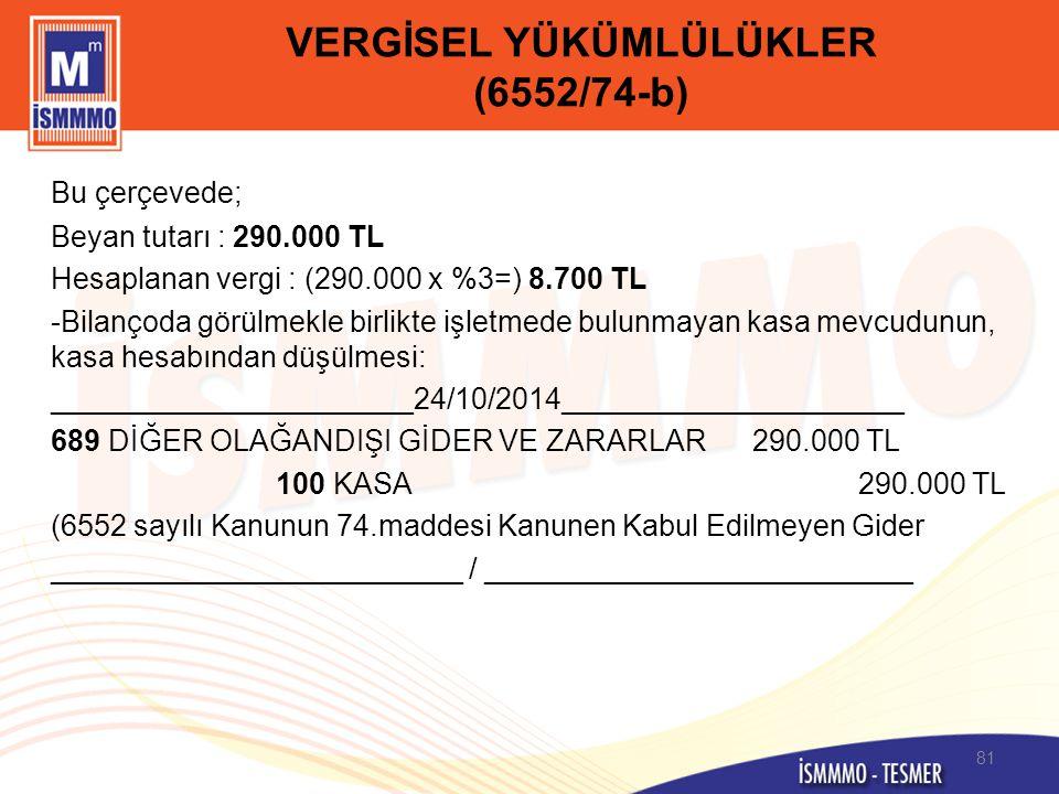 VERGİSEL YÜKÜMLÜLÜKLER (6552/74-b) Bu çerçevede; Beyan tutarı : 290.000 TL Hesaplanan vergi : (290.000 x %3=) 8.700 TL -Bilançoda görülmekle birlikte