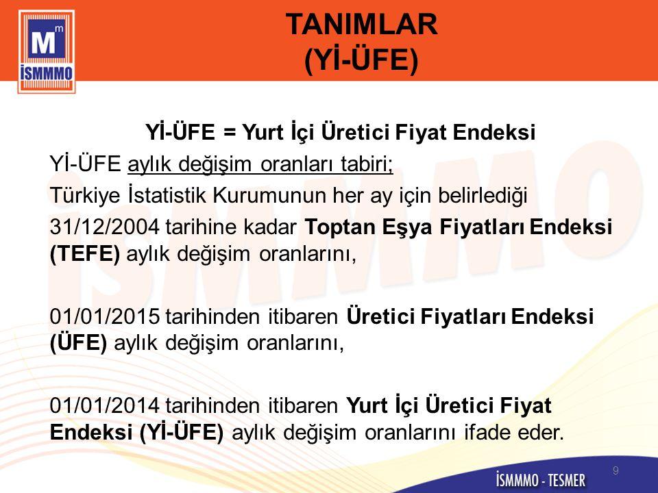 TANIMLAR (Yİ-ÜFE) Yİ-ÜFE = Yurt İçi Üretici Fiyat Endeksi Yİ-ÜFE aylık değişim oranları tabiri; Türkiye İstatistik Kurumunun her ay için belirlediği 3
