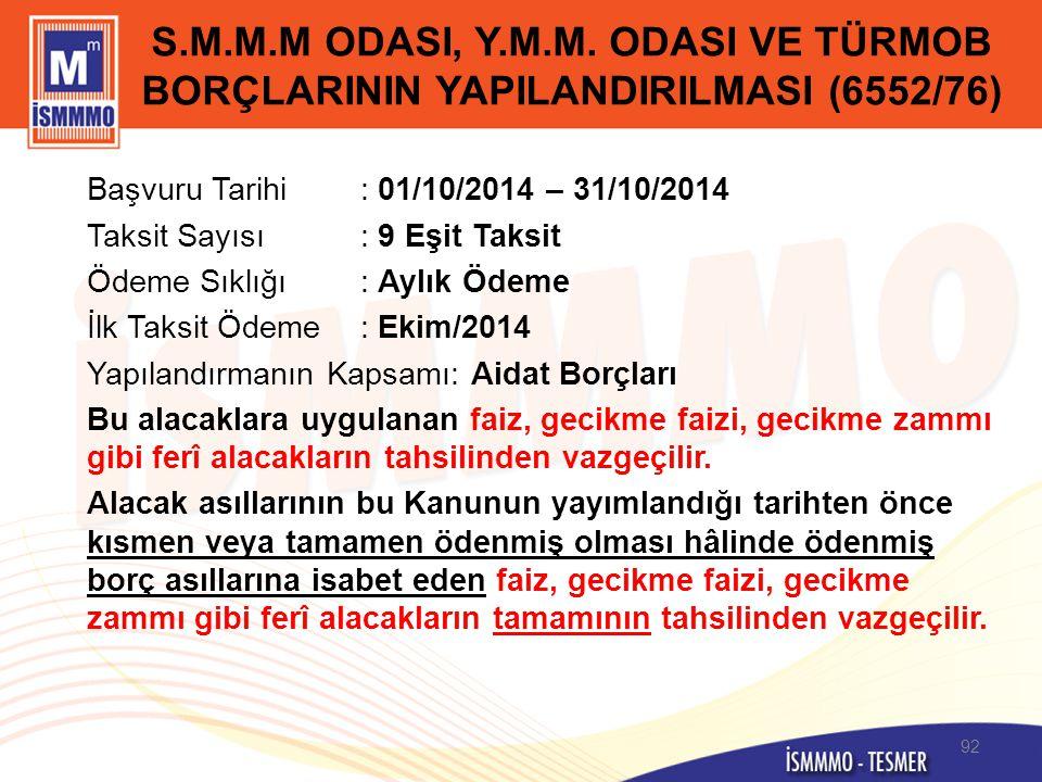 S.M.M.M ODASI, Y.M.M. ODASI VE TÜRMOB BORÇLARININ YAPILANDIRILMASI (6552/76) Başvuru Tarihi: 01/10/2014 – 31/10/2014 Taksit Sayısı: 9 Eşit Taksit Ödem