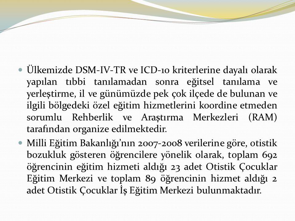 Ülkemizde DSM-IV-TR ve ICD-10 kriterlerine dayalı olarak yapılan tıbbi tanılamadan sonra eğitsel tanılama ve yerleştirme, il ve günümüzde pek çok ilçede de bulunan ve ilgili bölgedeki özel eğitim hizmetlerini koordine etmeden sorumlu Rehberlik ve Araştırma Merkezleri (RAM) tarafından organize edilmektedir.
