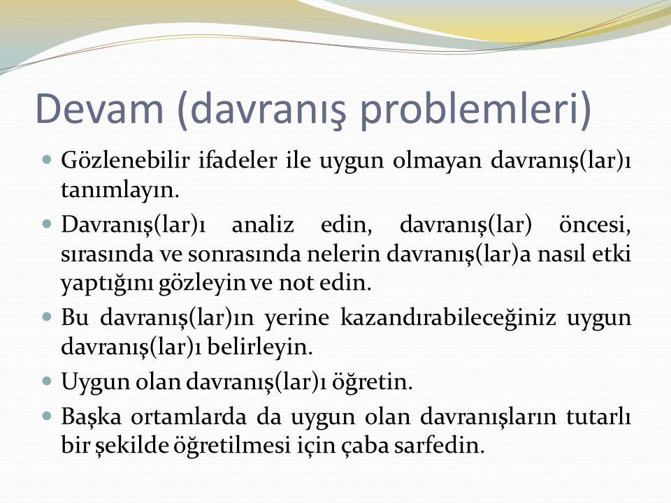 Devam (davranış problemleri) Gözlenebilir ifadeler ile uygun olmayan davranış(lar)ı tanımlayın. Davranış(lar)ı analiz edin, davranış(lar) öncesi, sıra