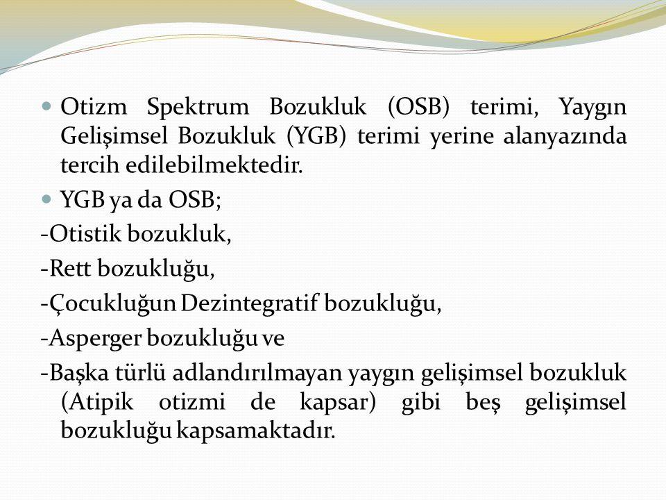 Otizm Spektrum Bozukluk (OSB) terimi, Yaygın Gelişimsel Bozukluk (YGB) terimi yerine alanyazında tercih edilebilmektedir. YGB ya da OSB; -Otistik bozu