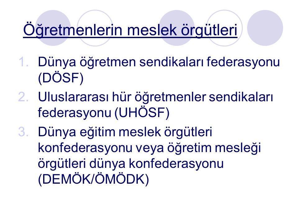 Öğretmenlerin meslek örgütleri 1.Dünya öğretmen sendikaları federasyonu (DÖSF) 2.Uluslararası hür öğretmenler sendikaları federasyonu (UHÖSF) 3.Dünya eğitim meslek örgütleri konfederasyonu veya öğretim mesleği örgütleri dünya konfederasyonu (DEMÖK/ÖMÖDK)