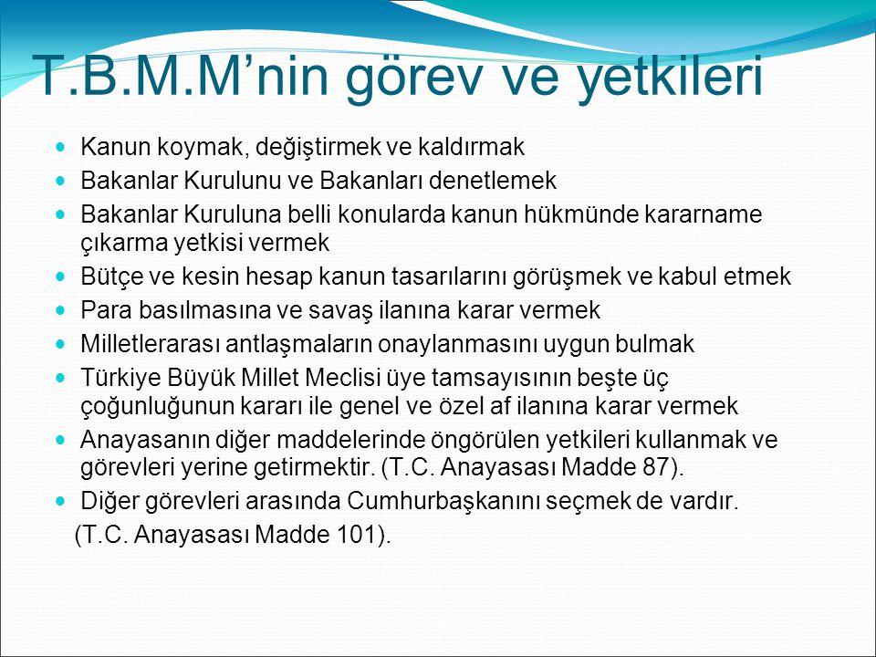 Türkiye Büyük Millet Meclisi denetleme yetkisini; Soru, Meclis araştırması, Genel görüşme, Gensoru, Meclis soruşturması yollarıyla kullanır.